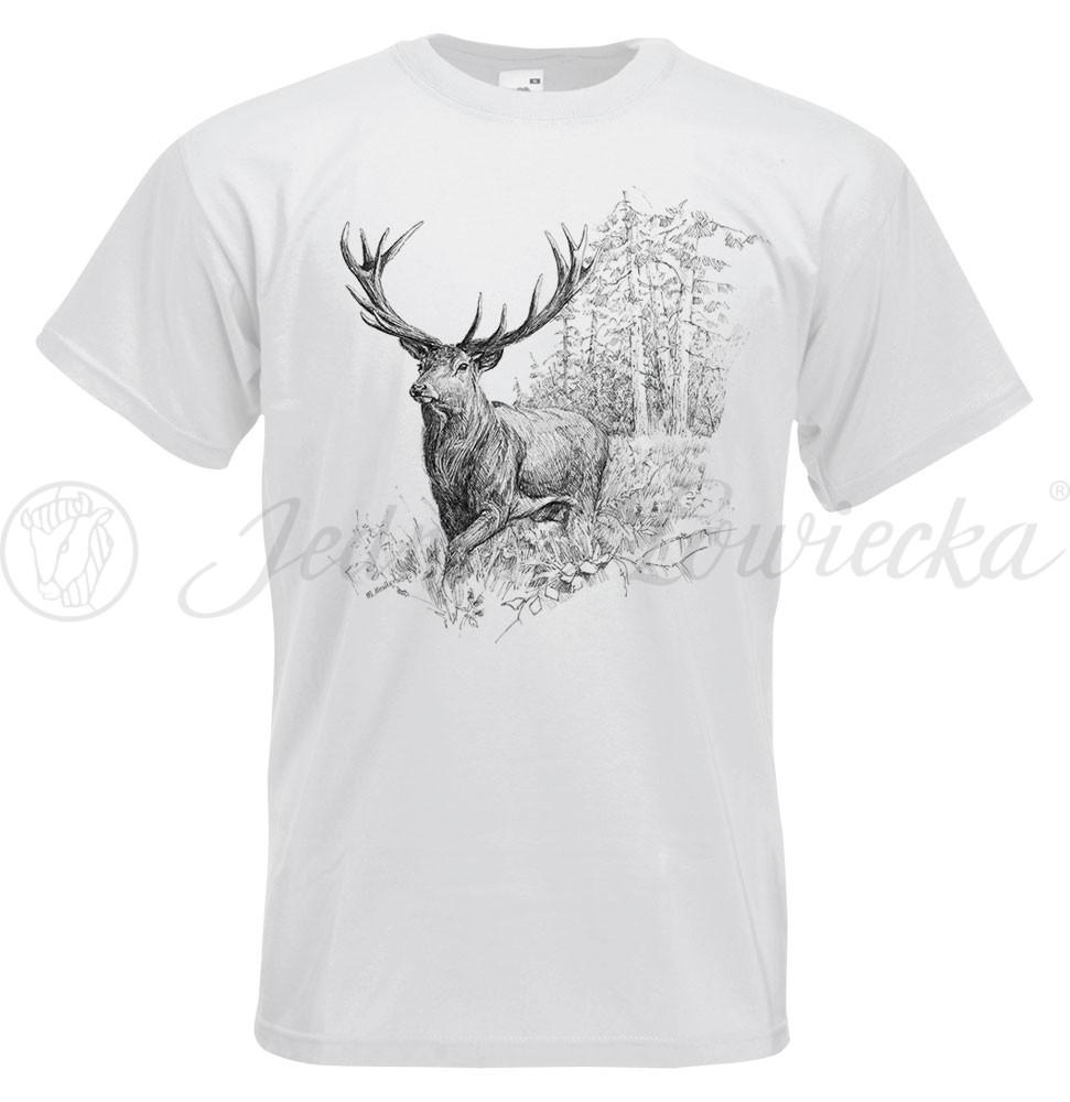 Koszulka myśliwska biała BykJeleń Military Zone  OTCO7