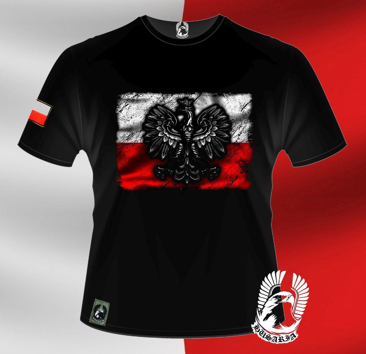 897b3557b Koszulka patriotyczna - flaga Polski z godłem - Husaria |Sklep ...